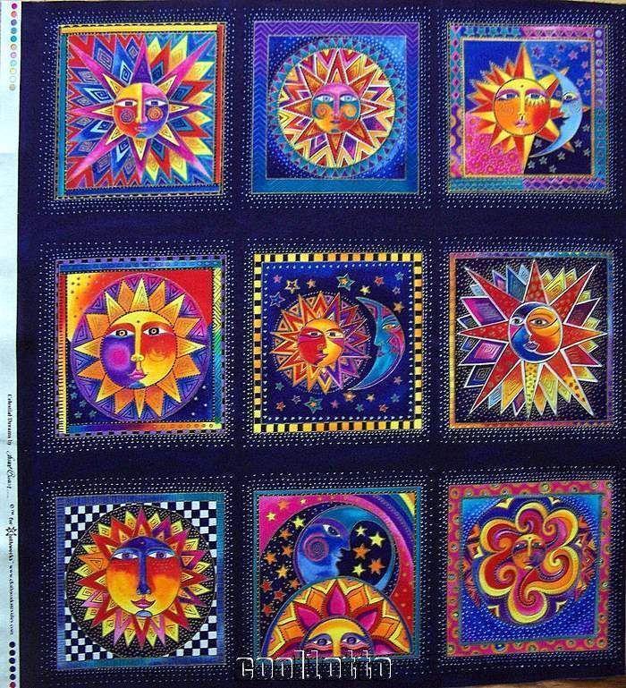 Laurel burch fabric celestial dreams panel 2010 sun moon stars for Sun moon stars fabric