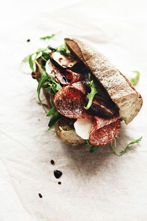 Salami, eggplant and mozzarella sandwich | food | Pinterest