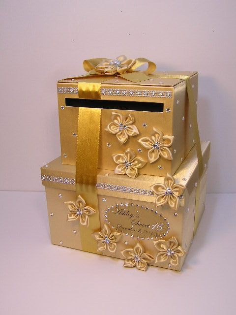 tier Gold Wedding Card Box/Sweet 16 Gift Card Box Money Card Box ...