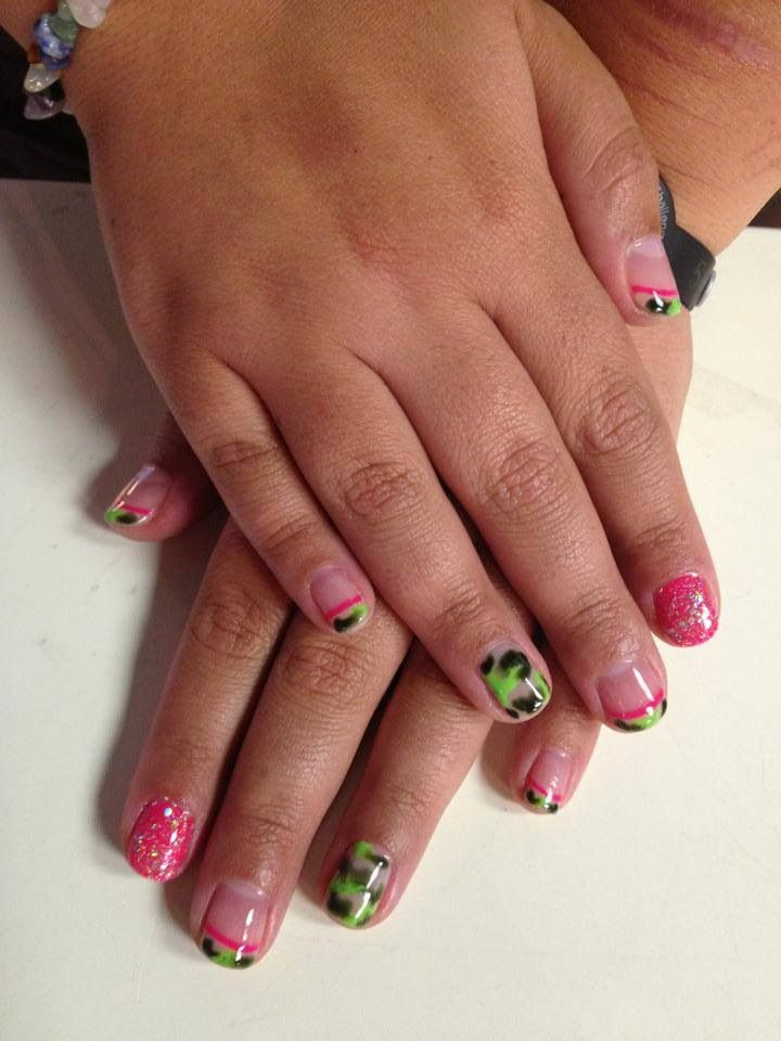 done today. I am in love. pink. glitter. camo. French tips. so awesome ...