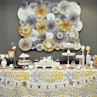 Gray & Yellow Dessert Table