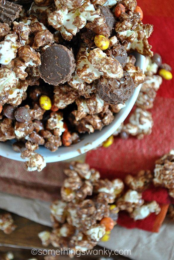 Easy Reese's Popcorn Munch | www.somethingswanky.com