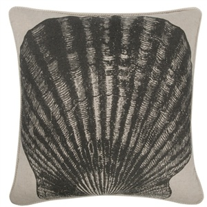 Scallop Flax Pillow in Charcoal by Thomas Paul