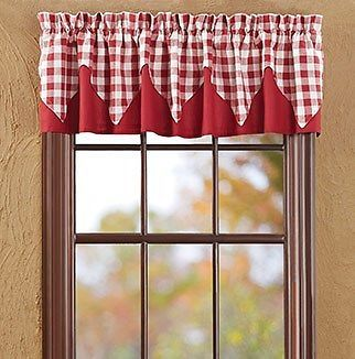 Valance Curtains Red White Gingham Check Layered Lined Kitchen 182x41