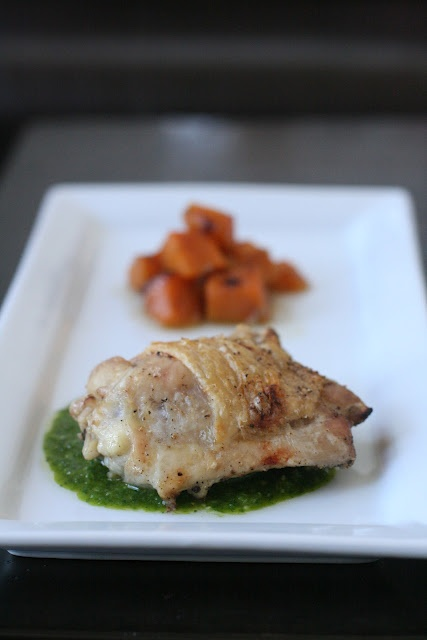 ... MARCH 6, 2012 roasted chicken with cilantro sauce and butternut squash
