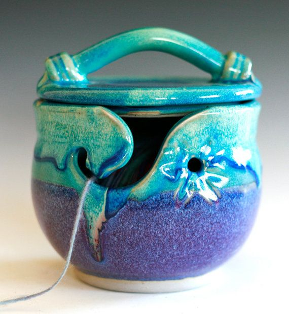 KittyProof Yarn Bowl handmade ceramic yarn bowl In by ocpottery, $65.00