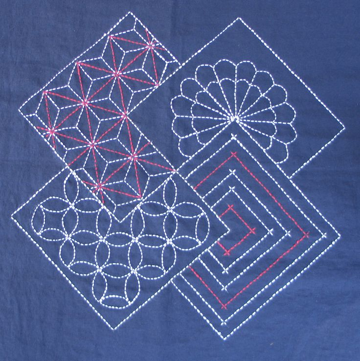 Sashiko Embroidery: Interlocking Squares Sashiko Pinterest