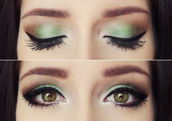 Mint green with chocolate makeup-inspiration
