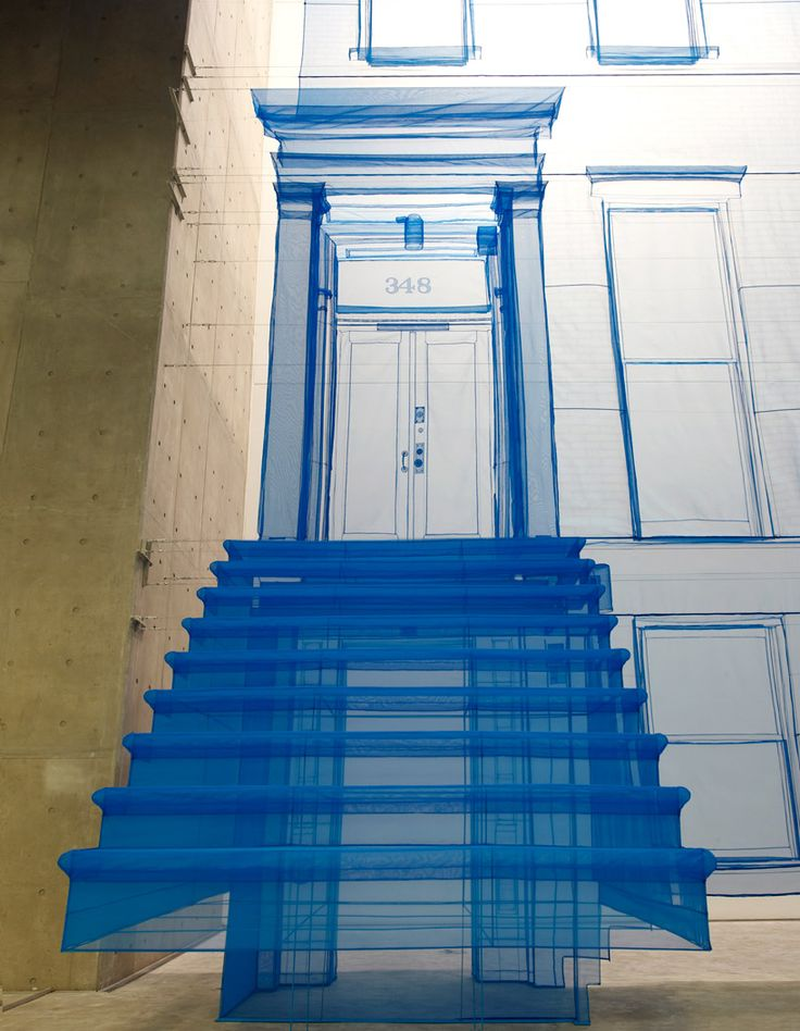 Do Ho Suh. 'Blueprint'. thread & sheer fabric.