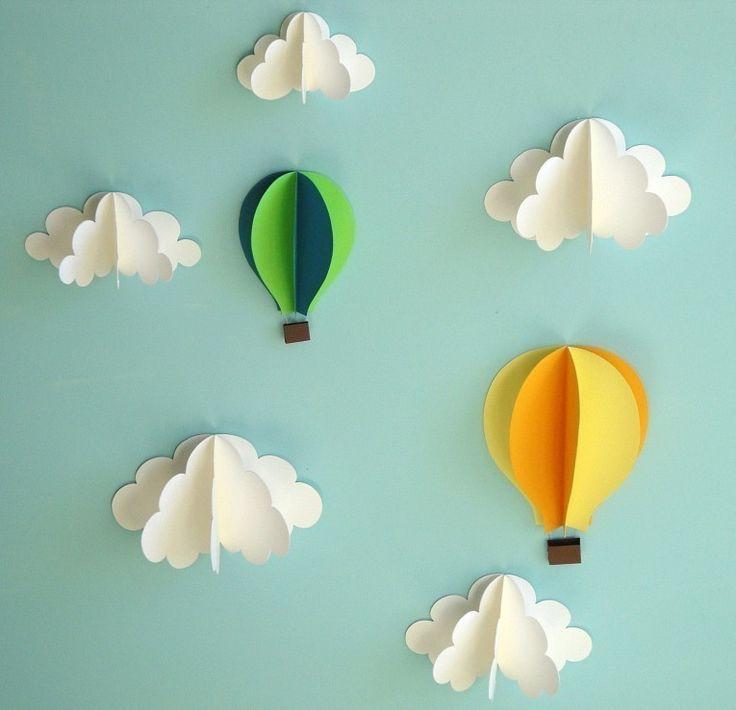 Paper Clouds Wall Decor : Hot air balloon wall decal paper art decor d