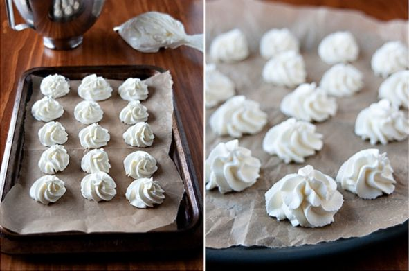Freeze whipped cream dollops for a hot chocolate bar.