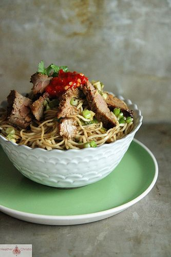 Ginger Scallion Noodles with Spicy Beef - used marinated tofu instead ...