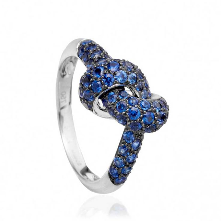 blue sapphire love knot ring colored stone engagement