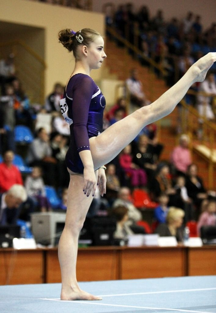 Russias Anastasia Grishina competes on the floor in the