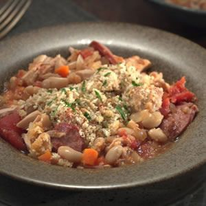 ... cassoulet, made with leftover turkey or chicken and canned beans