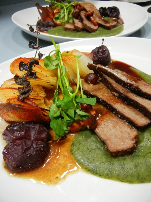 Roasted Beef and Italian Plums with Watercress Puree and Domino ...