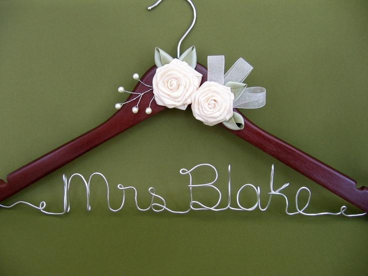Bridal hanger personalized hanger walnut wedding dress for Personalised wedding dress hanger