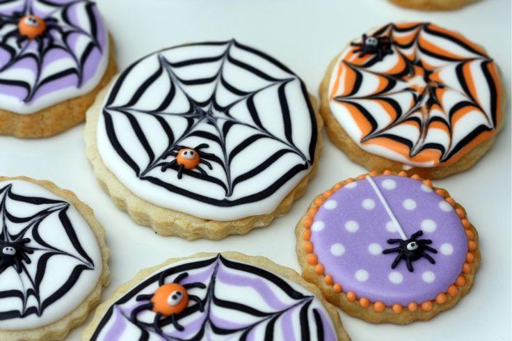 halloween spider web decorated cookies