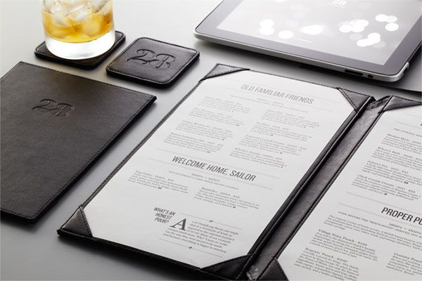 FPO: 28 HongKong Street (NY bar) Collateral by Manic. Stationery, menu, coasters, embossed leather, rubber stamp, wax seal, and app design. Type: Knockout + Miller.