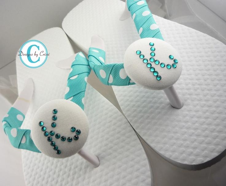 Bridesmaid Rhinestone Bridal Party Wedding Flip Flops Swarovski Personalized Monogrammed
