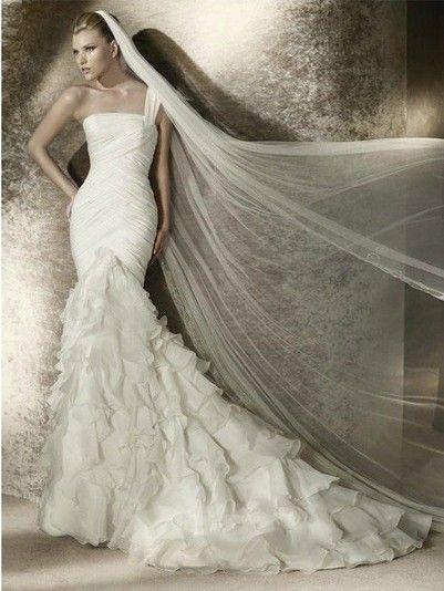 Fishtail Wedding Dress With Ruffles : Fishtail dress with long veil mitchell taylor wedding