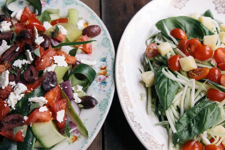 Zucchini Noodle Salad. (We tried the Greek style. It was SO yummy. I ...