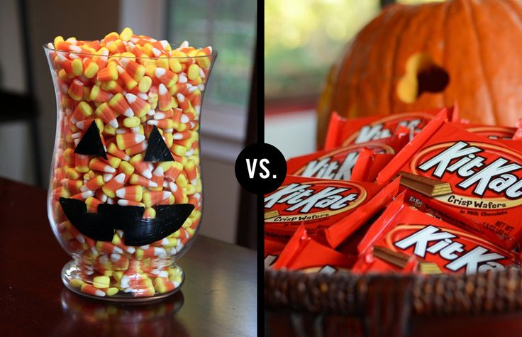 Candy corn vs. Kit Kats