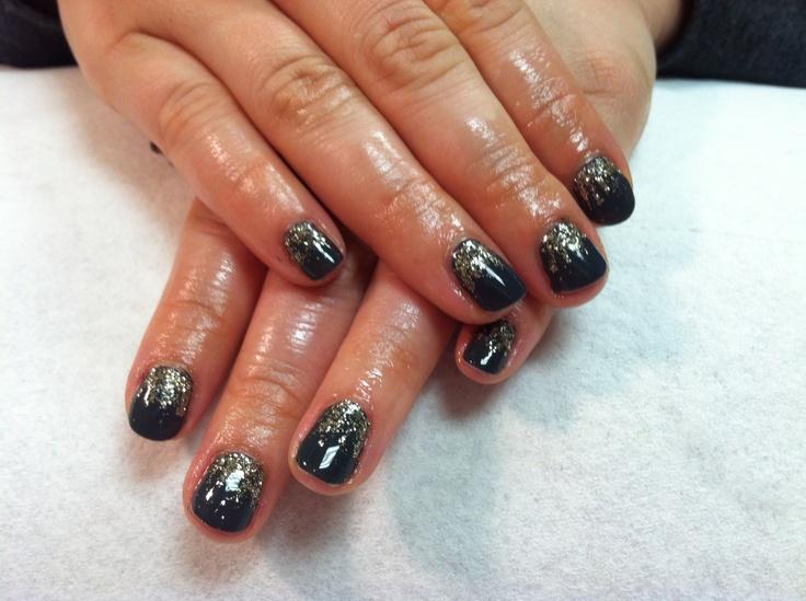 Shellac nails black gold fade   Hair/Nails   Pinterest