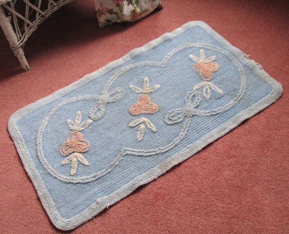 Vintage Chenille Bath Mat Rug Shabby Cottage Chic Blue