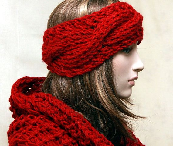 Chunky Cable Knitted Headband Earwarmers Spring Fall Winter Accessori ...