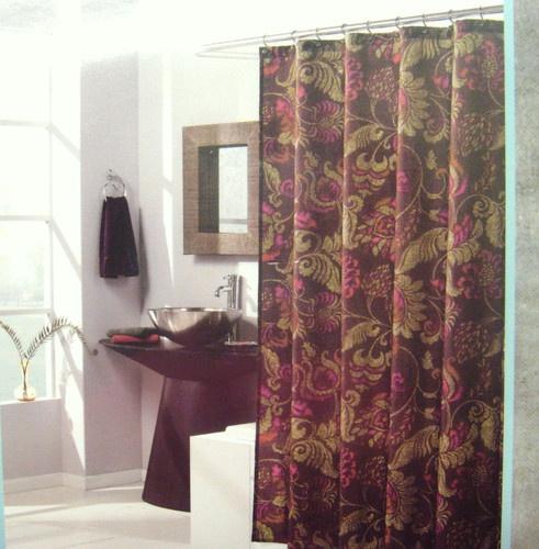 WEST ST DESIGN LORELEI Fabric Shower Curtain 70x72 Dark Burg