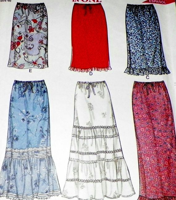 sewing pattern peasant maxi and midi skirt new look