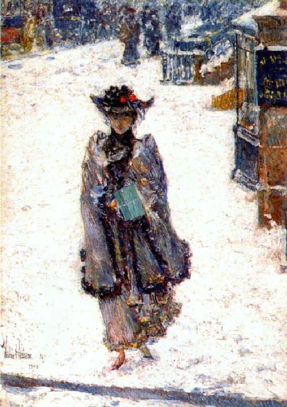 Street Scene, Christmas | Art: Movement: American Impressionism: Fred ...