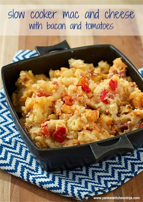 Slow Cooker Mac and Cheese with Bacon and Tomatoes | Recipe