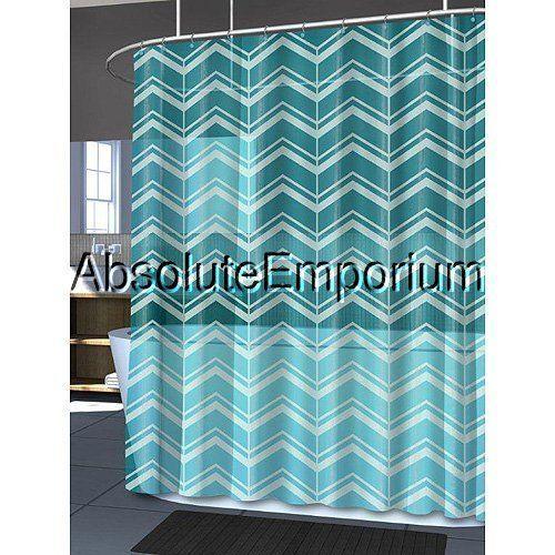 splash bath mill aqua baby blue chevron peva shower curtain 70 x 72