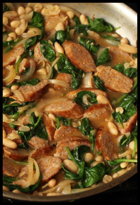 Chorizo and White Bean Stew with Spinach | Delicious Eats | Pinterest