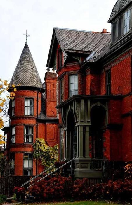 Victorian red brick mansion house pinterest for Brick victorian house