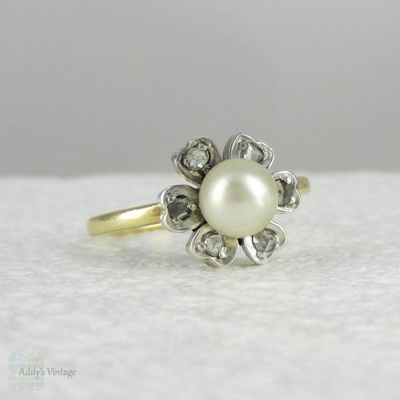 Vintage Pearl & Diamond Flower Engagement Ring Daisy Pearl Ring Stud…