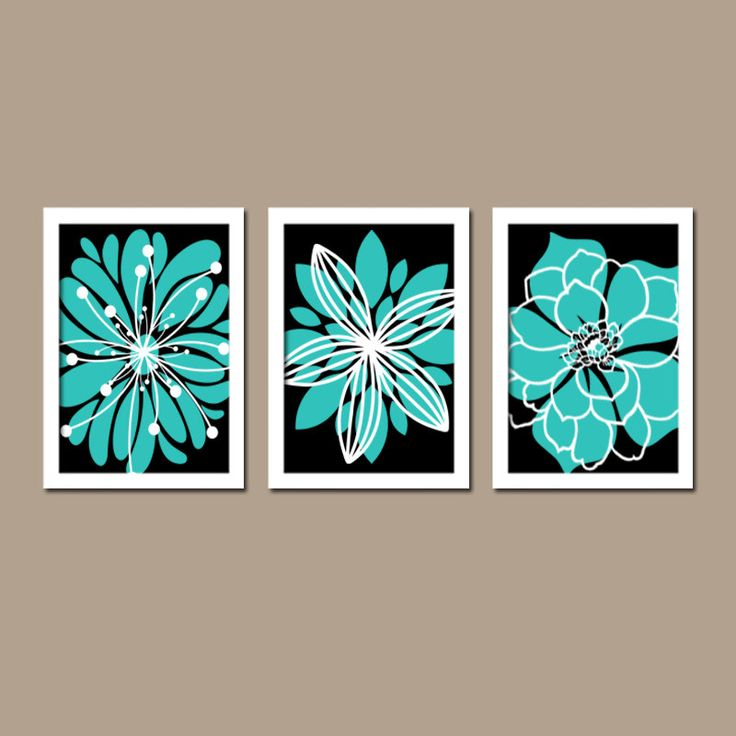 Turquoise black wall art canvas or prints bedroom white for Turquoise wall decor