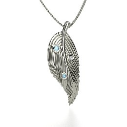 Birds of a Feather Pendant, Round Blue Topaz Sterling Silver Necklace with Blue Topaz