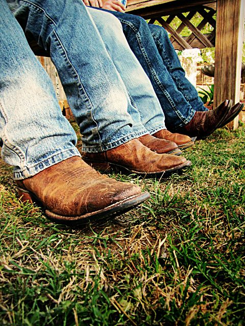 Jeans and boots.