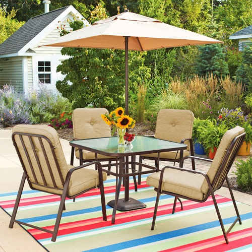 Mainstays Lawson Ridge 5 Piece Patio Dining Set Tan Seats 4