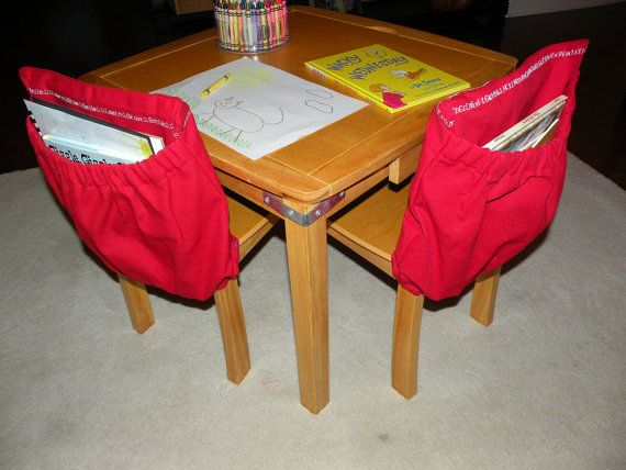 Red KINDERGARTEN Classroom Expandable Chair Cover Pocket