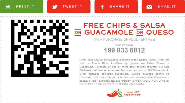 free chips and salsa coupon at chilis