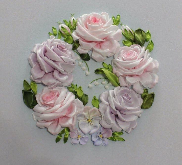 Вышивка лентами розы с листьями от мастера шепилова 98