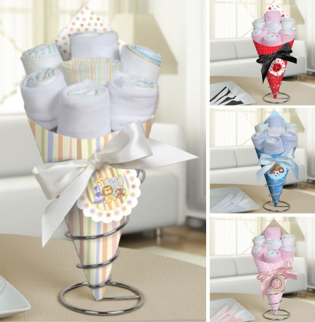 Baby shower diaper bouquet centerpieces baby pinterest for Baby shower diaper decoration