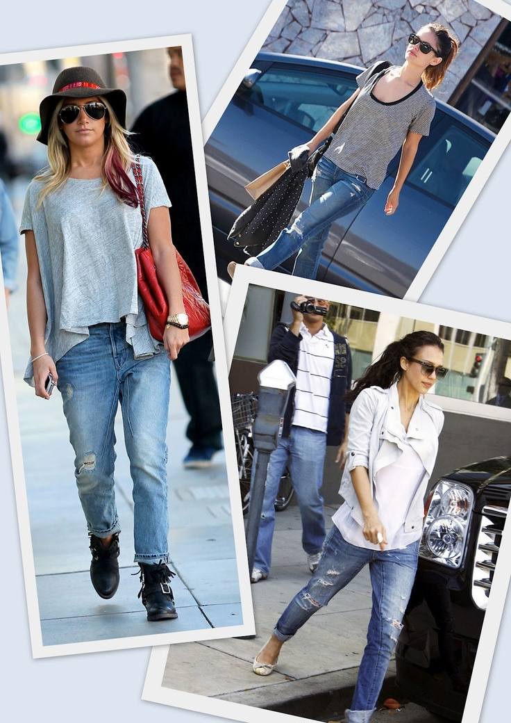 celebs in distressed boyfriend jeans