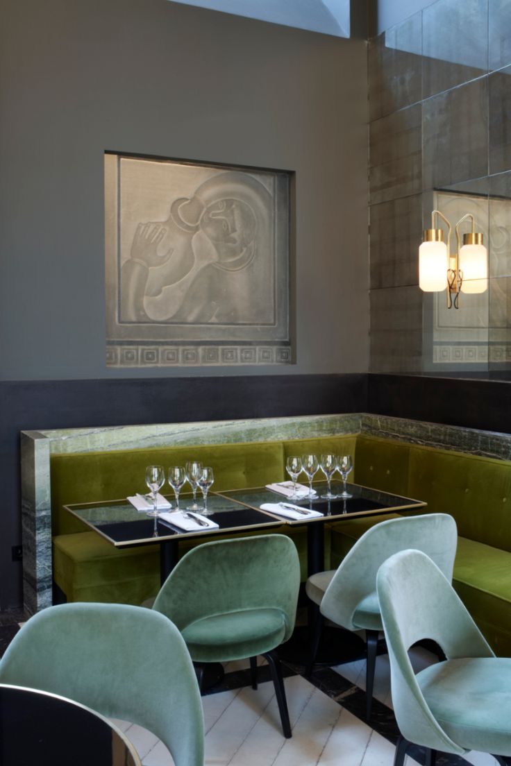I love this mix of greens with the gray - so modern.  Joseph Dirand for Monsieur Bleu in Palaisde Tokyo Paris Restaurant