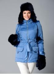 Siberia jacket in blue. Winter wear for busty women: http://dd-atelier