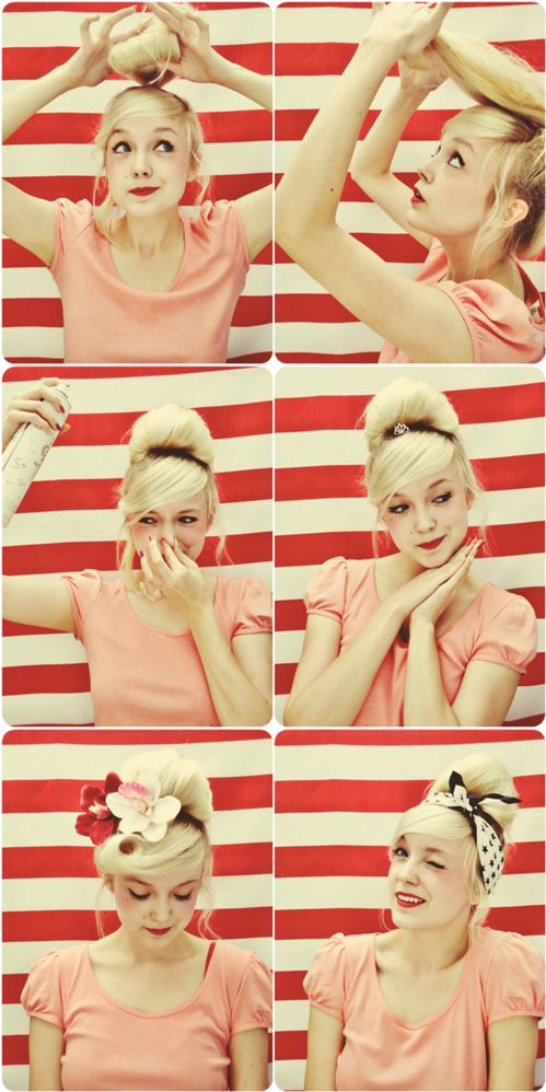 Bun-Victory Roll Bang Pin Up